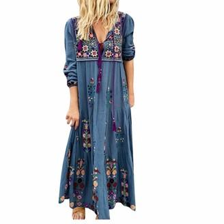 Rifuli Dresses for Womens Boho Plus Size V Neck Print Lace Up Long Sleeve Dress Party Maxi Dress Gray