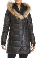 Rudsak Asymmetric Zip Coat with Real Fur Trim