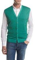 Kiton Cashmere-Silk Cardigan Vest, Green