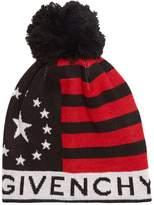 Givenchy Pompom logo-print wool-blend beanie hat
