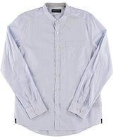 Kenneth Cole New York Men's Long Sleeve Collar Band Stripe Shirt