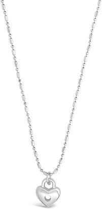 Sterling Forever Rhodium Plated Heart Lock Pendant Necklace