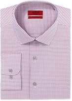 Alfani Fitted Performance Stretch Easy Care Mini Magenta Check Dress Shirt, Created for Macy's