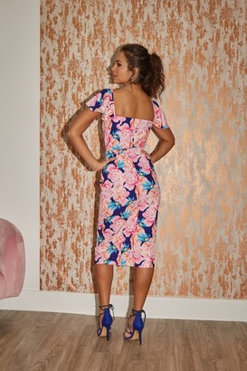 Paper Dolls Carson Navy Peony Floral-Print Sweetheart Midi Dress