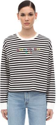 Levi's LOGO EMBROIDERED STRIPED COTTON T-SHIRT