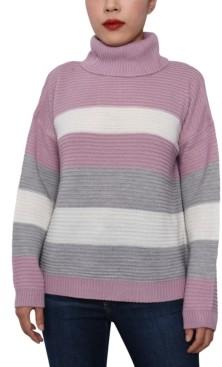Derek Heart Juniors' Striped Cowl-Neck Sweater