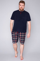 Yours Clothing BadRhino Navy Plain T-Shirt & Brushed Check Short Loungewear Set
