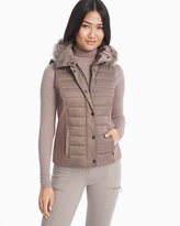 White House Black Market Quilted Vest with Removable Faux Fur Trim Hood