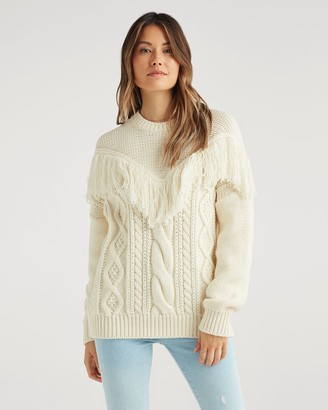 7 For All Mankind Wool Fringed Yoke Sweater in Champagne