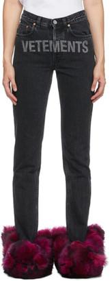 Vetements Black Washed Laser Logo Jeans