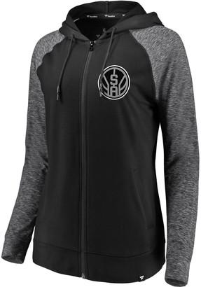 Möve Women's Fanatics Branded Black/Heathered Black San Antonio Spurs Made to Static Raglan Performance Full-Zip Hoodie