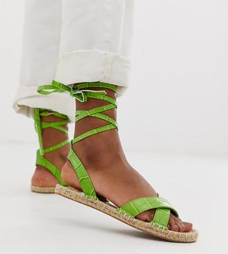 ASOS DESIGN Jala espadrille flat sandals in green croc