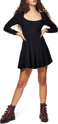 Topshop Beng Long Sleeve Ruched Neck Minidress