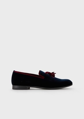 Giorgio Armani Velvet Loafers With Nappa Leather