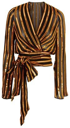 Galvan Sequin-Embellished Pride Wrap Top