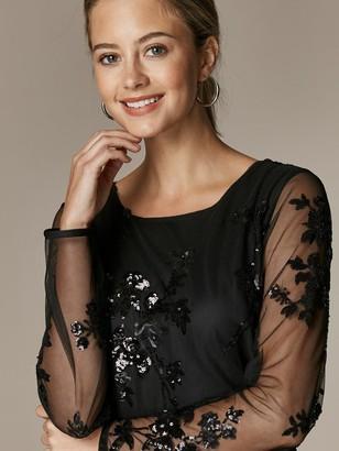 Wallis Petite Floral Sequin Mesh Maxi Dress