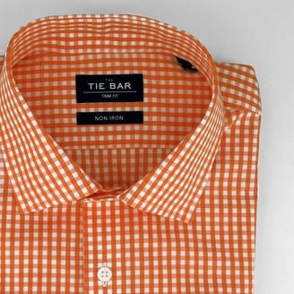 Tie Bar Gingham Orange Non-Iron Dress Shirt