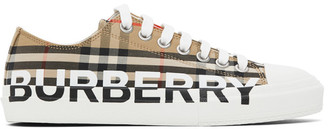 Burberry Beige Logo Check Larkhall Sneakers