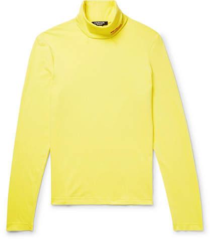 Calvin Klein Slim-Fit Embroidered Stretch-Cotton Jersey Rollneck T-Shirt