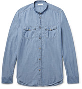Boglioli Slim-Fit Grandad-Collar Cotton-Chambray Shirt