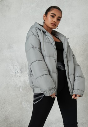 Missguided Tall Grey Jersey Hooded Puffer Coat