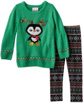 Little Lass Toddler Girl Knit Sweater & Fairisle Patterned Leggings Set