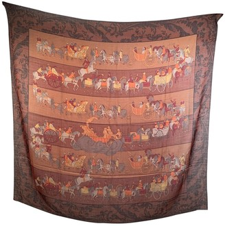 Salvatore Ferragamo Brown Wool Scarves