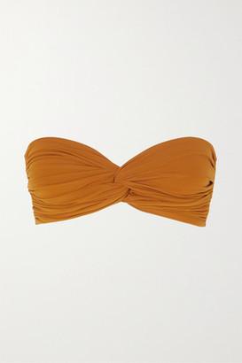Norma Kamali Johnny D Ruched Bandeau Bikini Top - Bronze