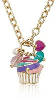 Little Miss Twin Stars 14k Gold-Plated Multicolor Swirls Topped Cupcake Cluster on Heavy Chain Necklace