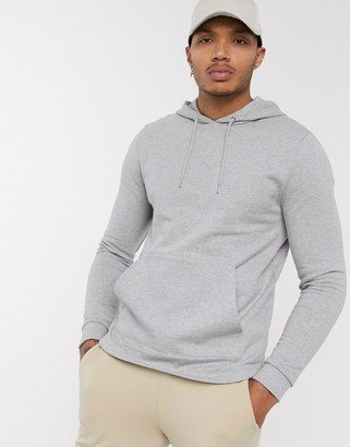ASOS DESIGN organic hoodie with curved hem in gray marl