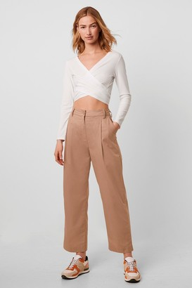 French Connection Sia Cotton High Waist Pleat Front Trouser
