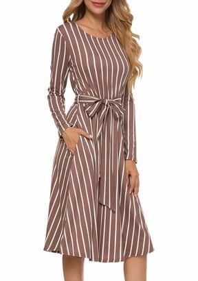 Edjude Women Casual Dress Long Sleeve Skater Dresses Crewneck A-line Stripes Midi Dress Pocket with Waist Belt Size Medium Red