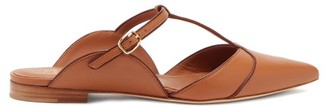 Malone Souliers Imogen T-bar Strap Point-toe Leather Mules - Tan