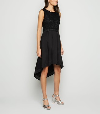 New Look Mela Lace Sequin Dip Hem Dress