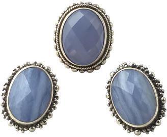 One Kings Lane Vintage Dweck Blue Silver Earrings & Ring - Owl's Roost Antiques