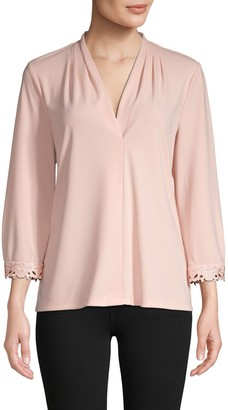 Karl Lagerfeld Paris Lace V-Neck Long-Sleeve Top