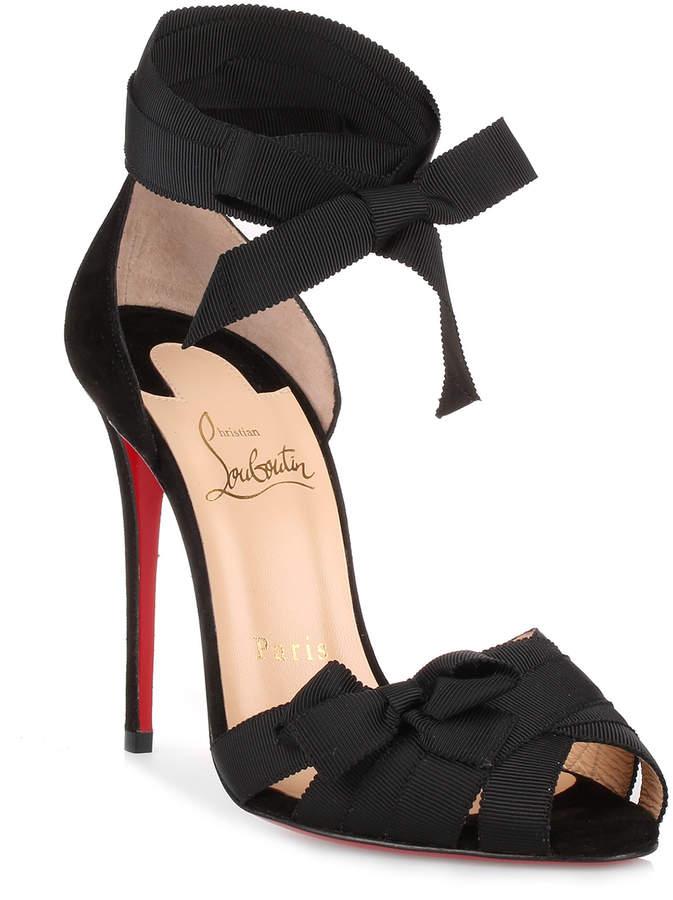Christian Louboutin Christeriva 100 black grosgrain sandal