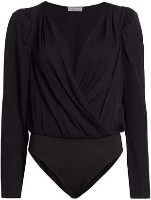 Milly Stretch Silk Michele Puff-Sleeve Bodysuit