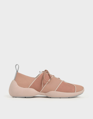 Charles & Keith Nylon & Microsuede Lace-Up Sneakers
