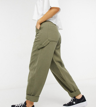 ASOS DESIGN Petite slouchy trackies in khaki cheesecloth