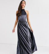 Asos Tall DESIGN Tall velvet halter waisted pleated maxi dress