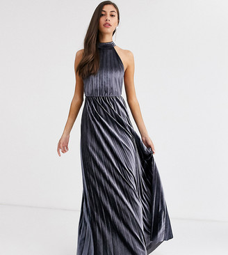 Asos Tall ASOS DESIGN Tall velvet halter waisted pleated maxi dress
