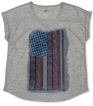 Style&Co. Style & Co Petite Faded Flag V-Neck T-Shirt, Created for Macy's