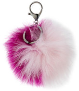Adrienne Landau Two-Tone Fox Fur Pompom, Fuchsia/Light Pink