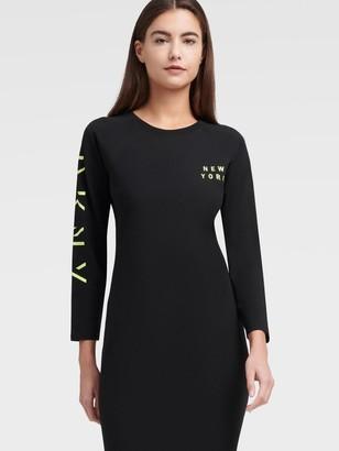 DKNY Women's Long Sleeve T-shirt Dress With Shadow Logo - Zest - Size XS
