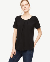 Ann Taylor Pleated Mixed Media Top