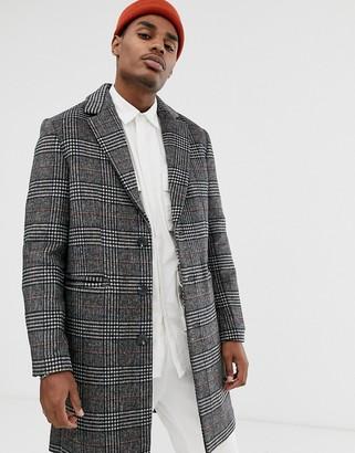 Asos Design DESIGN wool mix overcoat in grey check
