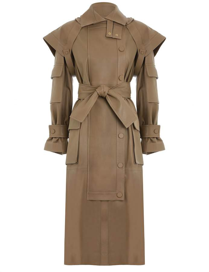 Zimmermann Unbridled Leather Overcoat