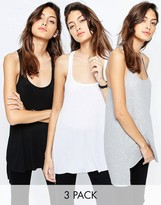 Asos Tank With Step Back Hem In Rib 3 Pack