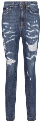 Dolce & Gabbana Distressed high-rise skinny jeans